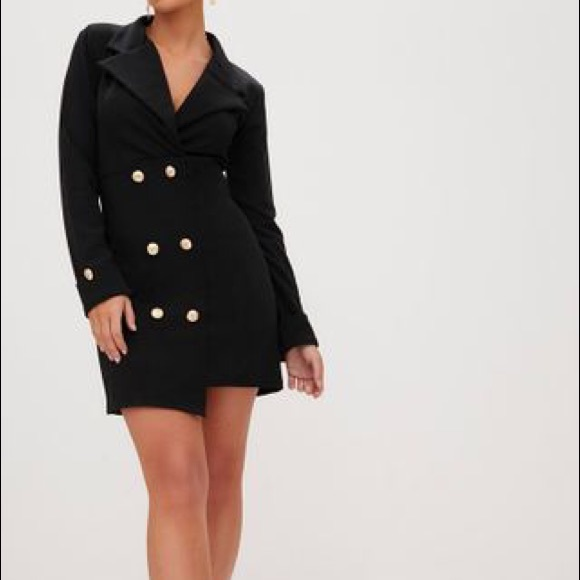 46bb517fa5f Black Gold Button Detail Blazer Dress. M 5c1b192804e33d146ed091eb